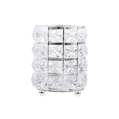 Yardwe Kristall Metall Runde Make-up Pinsel Lagerung Inhaber Fall Barrel Organizer (Silber) (Barrel Fall Make-up)