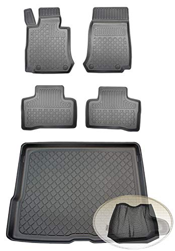 ZentimeX Z392842 Set Kofferraumwanne Gummifußmatten + Klettnetztasche (Laderaumwanne, Kofferraummatte, Automatten)