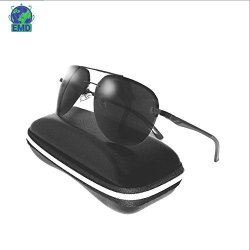 Sonnenbrille im Pilotenstil - polarisiert – verspiegelt –UV 400–sehr leicht aus alu-magnesium-Legierung –Flex-Scharnier – Herren, Damen – empfohlen für Automobilindustrie, Luftfahrt, Motorrad, Fischerei und den Sport, schwarz