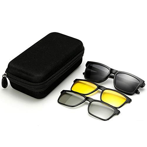hlq Reitersonnenbrille, Blendschutzbrille, TR-Sonnenbrille, UV 400, Magnetische Adsorption, Hängeschnallen-Design, Unisex, Dreiteiliger Spiegel