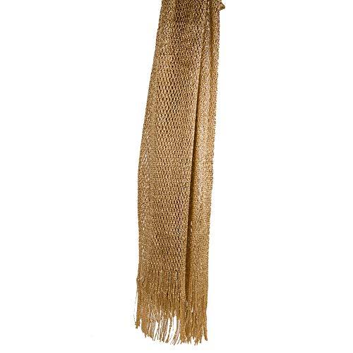 5d18615c75d56f Emila Stola oro cerimonia coprispalle elegante con frange a rete sciarpa  foulard fular scialle grande lurex da matrimonio per abito da sera giorno  primavera ...