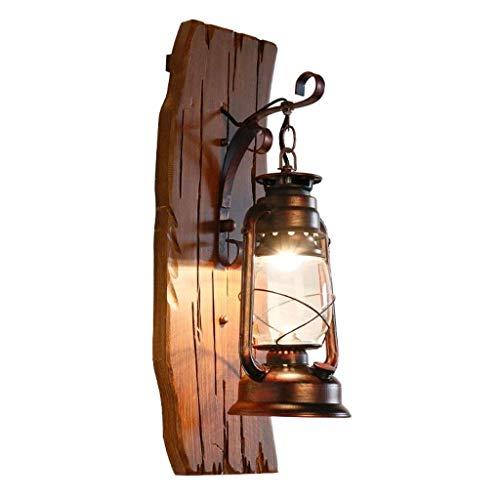 LMDH Vintage Wandleuchter Industrielampe Glas Lampenschirm Deko Laterne Beleuchtung Bauernhaus Leuchter Holz Beleuchtung für Haus Schlafzimmer Wohnzimmer Cafe -