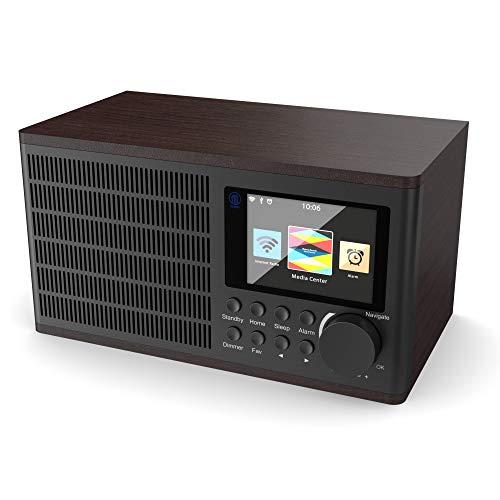 MAJORITY Peterhouse Internetradio Wi-Fi WLAN Verbindung Radio, USB Eingang/Aufladen, Aux-in, Dual Wecker und Einstellungen (Nussbaum)