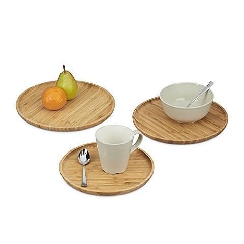 Relaxdays Dessous de verre rond lot 3 petite assiette service ronde bambou petit déjeuner 24, 26 et 28 cm, nature
