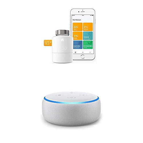 Echo Dot tessuto grigio chiaro + Tado° Testa Termostatica Intelligente Kit di Base V3+ - Gestione intelligente del riscaldamento, compatibile con Amazon Alexa, Apple HomeKit, Assistente Google, IFTTT