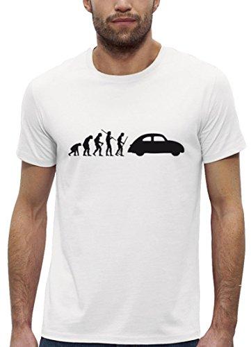 Kult Premium Herren T-Shirt aus Bio Baumwolle EVOLUTION KULT AUTO Marke Stanley Stella White