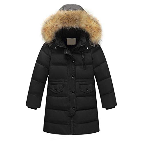 g Daunenjacke mit Pelz Ultraleicht Wintermantel Winter Warme Jungen Mädchen Jacke mit Kapuze Hochwertig Schön Parka Mantel (110, Schwarz) ()