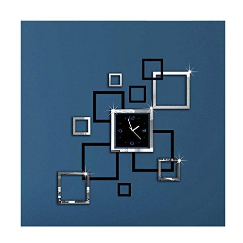 Albeey DIY Wanduhr Moderne Clock 3D Acryl Spiegel Wandaufkleber Home Dekorationen Tolles Geschenk (schwarz und silber)