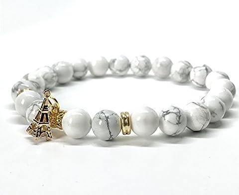 GOOD.designs Perlen-Armband aus Howltih / Onyx-Natursteinen mit Turm Charm-Anhänger in Gold (Howlith)