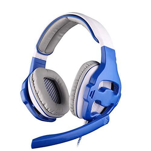 DEjh Stereo 7.1 Surround-Rauschunterdrückung LEDUSB-Kopfhörer mit Mehreren Kabeln Für PC-Headsets (Farbe : Blau)
