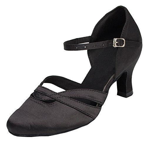 Minitoo - Comode scarpe da donna in raso con tacco basso, modello TH152, ideali per matrimoni, balli latino americani, tango, scarpe da ballo, Nero (Black), 36