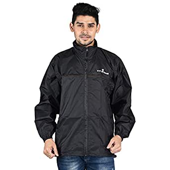 Wet Off Hood - Lightweight Nylon Windcheater Jacket for Men and Women 100% Water Proof (XL, Black)
