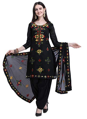 EthnicJunction Women's cotton Dress Material (EJ1180-88034- Black_Free Size)