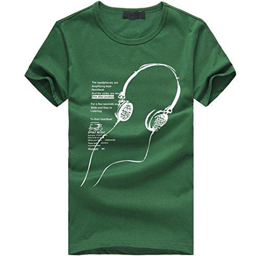 Amlaiworld Sommer-kühles Druck-Kurzschluss-Hülsen-T-Shirt für Herren, fashinable und mehrfarbiges T-Shirt ohne Kapuze (M, Grün)