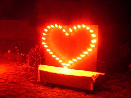 Lichterbild Brennendes Herz gross mit 2 Bengallichter - 2