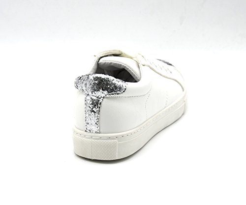 SHY22 * Baskets Sneakers Simili Cuir Blanc Uni avec Bouts Avant Arrière Paillettes et Lacets - Mode Femme Argenté