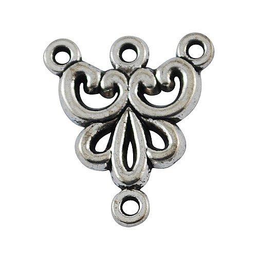 20 pz argento antico 1/3 cerchio stile tibetano componente lampadario links in lega , senza piombo & nichel & cadmio, 19x16x2 mm, Foro: 1 mm