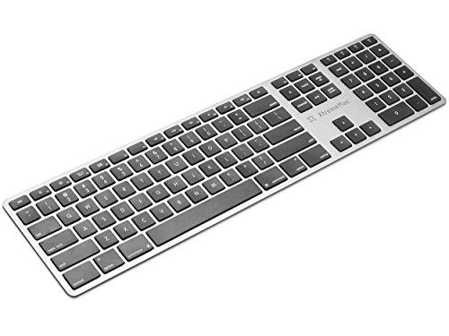 XtremeMac XMKEYBT-FR Universal Bluetooth AZERTY Tastatur & Nummernblock für iMacs, MacBooks, Laptop, Kabellos, Wireless Keyboard mit Französische Tastatur Silber