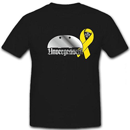 Unvergessen Gelbe Schleife Bundeswehr Erkennungsmarke Gefallenen Auslandseinsatz Solidarität gedenken- T Shirt Herren #5865 (Armee T-shirt Gelben Militär)