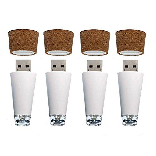 Gladle LED Weinflasche Licht Wiederaufladbare USB Cork Shaped Light 4 PCS, helles Weiß Leuchten Für Mittelstücke