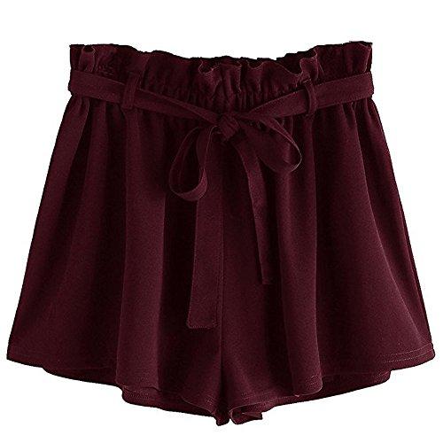 SHOBDW Pantalones Cortos elásticos de la Playa de la impresión de la Raya de Las Mujeres del Verano de la Cintura Alta Pantalones Cortos Flojos de la Playa del Dril de algodón (XL, W-Vino Rojo)