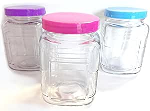 3 x Square Glass Jars with Coloured Lids 800ml (Kitchen/Sweet/Candy Storage)