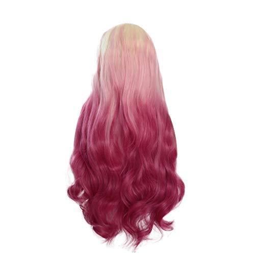 22 Burlesque Größe Kostüm - TianWlio Perücken Damen Natürliche Lockige Spitze Front Synthetische Perücke Frauen Mischen Farben Rosa Lange Gerade Perücken