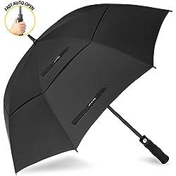 ZOMAKE 62/68inch Paraguas Grande para Mujer Hombre - Paraguas Largo Automatico - Doble Toldo Ventilado, Resistente Viento (Negro)