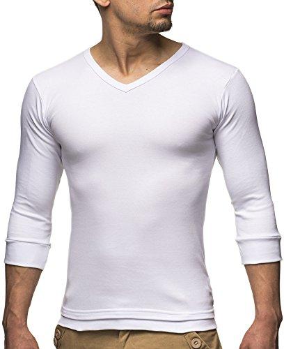 Leif Nelson Basic Herren 3/4 Arm Sweatshirt LN2026 (S, Weiß) -