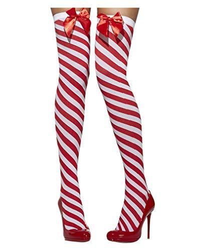 Damen-candy-gestreifte Socken (Horror-Shop Fever Overknees rot-weiß gestreift)