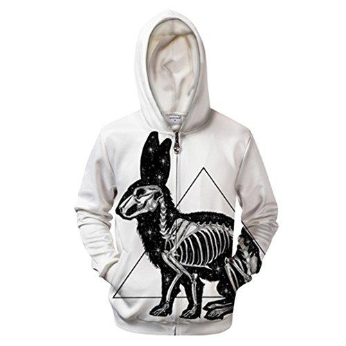 Kanickel von Pixie Coldart 3D-Zip Hoodies Groot Hoody Männer Reißverschluss Sweatshirt Pullover Trainingsanzug Groot Mantel Streatwear Hot Zip 411 XXXL
