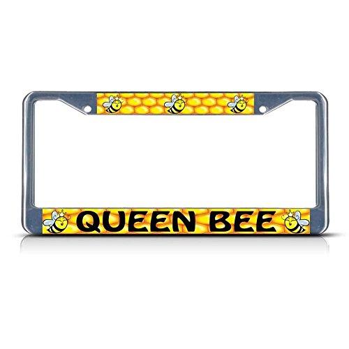 Queen B Bees Chrom-Metall-Kennzeichenrahmen, ideal für Männer und Frauen, Auto-Garadge-Dekor