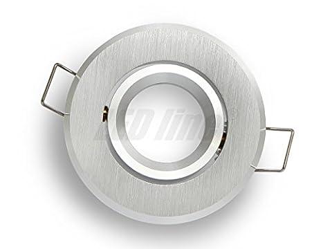 Kleiner Aluminium Design Einbaustrahler MR11 GU10 GU11 Außendurchmesser: 72mm gebürstet rund schwenkbar GU10 230V GU5,3 12V ohne Leuchtmittel passen für LEDs mit 35mm Durchmesser Deckenlampe Deckeneinbaustrahler