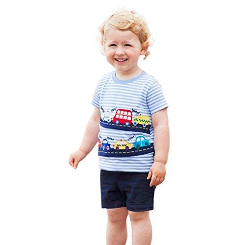 MML Baby Clothing Tops, Summer Infant Kids Boys Girls Strip Stiching T Shirts Cartoon Print Outfits