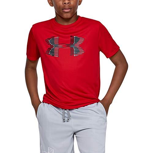 Solid V-neck Tee (Under Armour Jungen Tech Big Logo Solid Tee Kurzarmshirt, Rot, YMD)