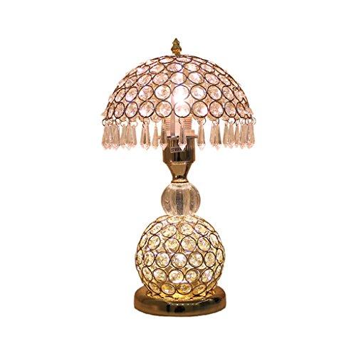 l Tischlampe, Schmiedeeisen Lampenkörper, Kristall Lampenschirm, Schlafzimmer Nachttischlampe Wohnzimmer Luxus Hochzeit Ideen Moderne warme Lampe, E27 (Color : Gold) ()