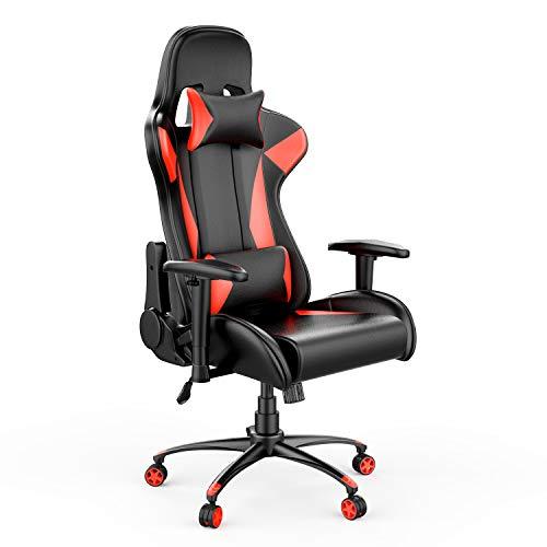 AmazonBasics Silla para gaming, diseño deportivo, polipiel de PU, rojo