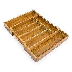 Relaxdays Besteckkasten Bambus, groß, 5 bis 7 Fächer, Besteckeinteiler, Schubladeneinsatz HBT: 5 x 48,5 x 37 cm, natur