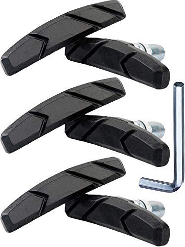 Hestya 3 Paar V Fahrrad Bremsbeläge mit Montage Werkzeug und Distanzscheiben V Fahrrad Bremsklötze Set 70 mm