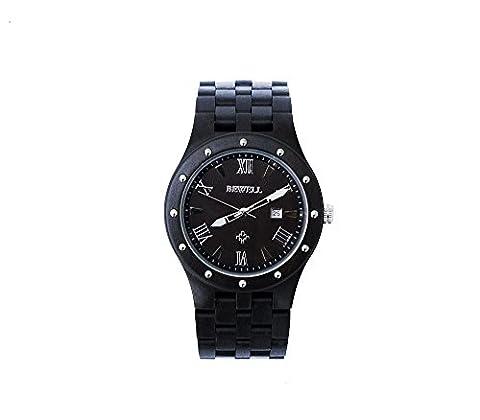 Herren Armbanduhr – 46mm rundes Zifferblatt, Armbanduhr aus Sandelholz und Ahorn – Schwarz – Miyota Drehung – Wasserdicht – Datum, 3 Uhrzeiger, Stoppuhr