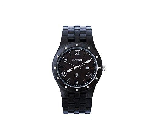 Herren Armbanduhr – 46mm rundes Zifferblatt, Armbanduhr aus Sandelholz und Ahorn – Schwarz – Miyota Drehung – Wasserdicht – Datum, 3 Uhrzeiger, Stoppuhr Funktion