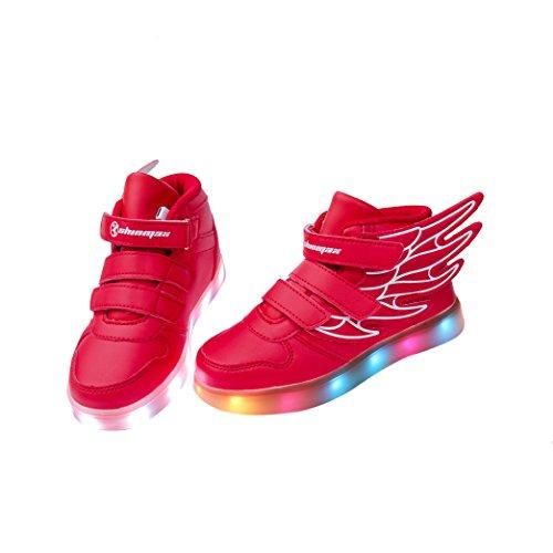 LED Chaussures,Angin-Tech Ange Série Led Chaussure 7 Couleurs USB Rechargeable Clignotant Chaussures Basket Lumineuse de Garçon et Fille pour Noël Halloween avec CE Certificat Rouge