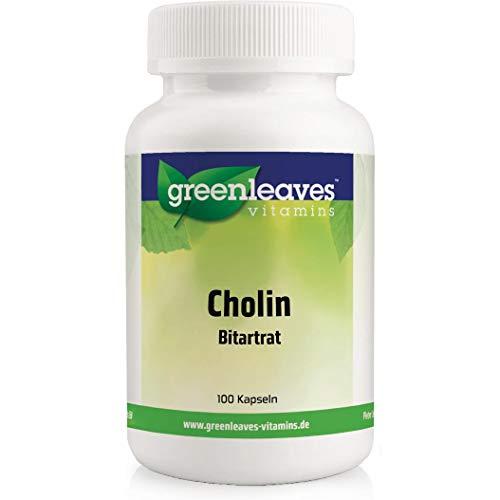 Greenleaves vitamins - Cholin 100 vegetarische Kapseln Bitartrat hochdosiert 500mg