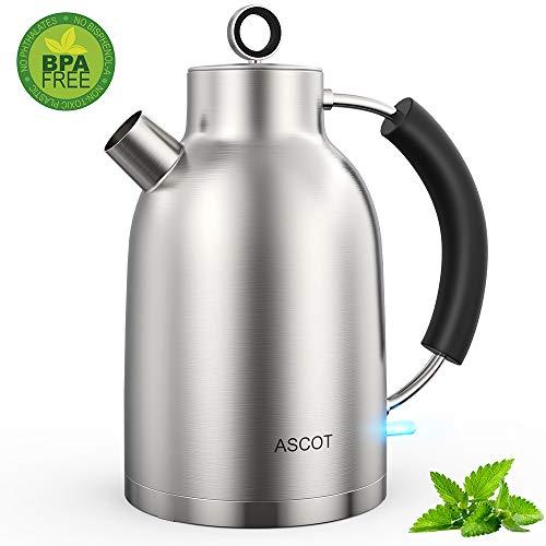ASCOT Wasserkocher Edelstahl-Wasserkocher Retro Elektrische Teekocher Kettle Schnelle Doppelheizung Wasserkessel BPA frei Lebensmittelqualität Material Trockenlaufschutz Auto Herunterfahren 1,6L 2200W