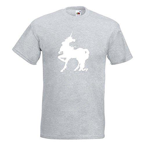 KIWISTAR - Einhorn T-Shirt in 15 verschiedenen Farben - Herren Funshirt bedruckt Design Sprüche Spruch Motive Oberteil Baumwolle Print Größe S M L XL XXL Graumeliert