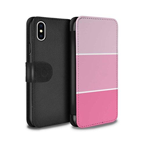 Stuff4 Coque/Etui/Housse Cuir PU Case/Cover pour Apple iPhone X/10 / Pack 10pcs Design / Tons de Couleur Pastel Collection Rose