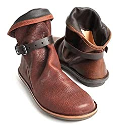 Xiangdanful Damen Cowboy Stiefel Halbschaft Stiefel Stiefeletten Ankle Boots Slip-On Flache Schuhe Runde Toe Winter Schneestiefel Schlupfstiefel Geschlossen Outdoor Leder Schuhe (39 EU, Braun)