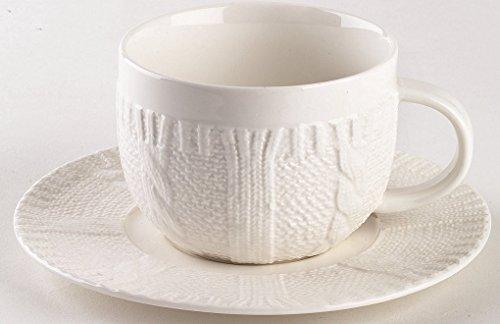 2er Set Cappuccino-Tassen mit Untertasse aus Porzellan, weiß, in schicker Strickoptik, aus der Kollektion Pullover von TOGNANA. 370 ml. Volumen (Schicke Strickmuster)