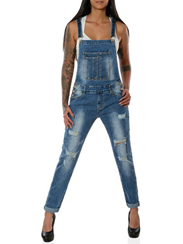 Damen Jeans Hose Latzjeans Latzhose Overall Röhre No 15901, Farbe:Blau, Größe:XS/34