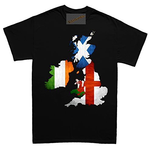 Renowned MAP - England Scotland Wales Ireland Unisex - Kinder T Shirt Schwarz